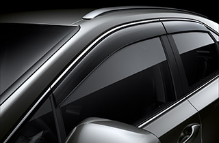 Window deflectors with chrome inserts