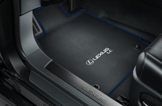 Textile floor mats black with blue overlock